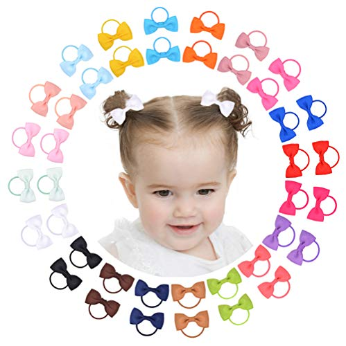 40PCS 2 Inches Baby Girls Hair Bows Ties Mini Boutique Elastic Hair Rubber Ribbon Hair Band Accessories for Kids Toddlers Infants