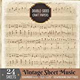 Vintage Sheet Music Scrapbook Paper Double-sided for Scrapbooking Craft: 24 Printed Music Sheets for Papercrafts, Album Scrapbook Cards, Decorative ... Collage Sheets, Antique Old Printed Design