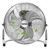 OZAVO Ventilador de Suelo Cromado Industrial 56CM, 100W, 3 Velocidades, 3 Aspas Metálicas, Motor de Cobre, Cabezal Inclinación Ajustable, Portátil para Hogar, Oficina, Gimnasio, Fábrica, Garaje