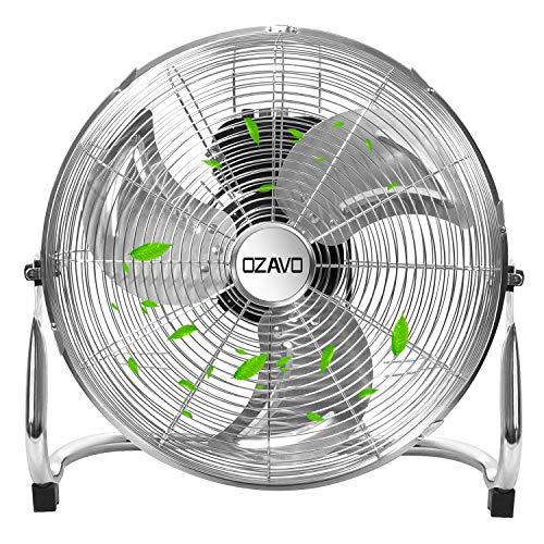 OZAVO Standventilator, Windmaschine ⌀36/48/54 cm mit 3 Laufgeschwindigkeiten, Bodenventilator Power, Tischventilator Metall, Luftkühler, verstellbare Neigungswinkel, 45/80/100 W (⌀54cm)