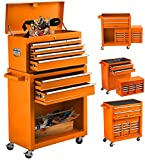8 Drawers Rolling Tool Chest,Tool Box with Drawers and Wheels Tool Cabinet Tools Storage Portable Top Toolbox,Rolling Tool box with Handle,Tool Boxes for Mechanics Garage Workshop
