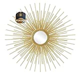 Hyua Gold Sunburst Decorative Wall Mounted Mirror, Bathroom Mirrors, Living Room Wall Mirror, Kitchen Wall Mirror Decorative Starburst Mirror, Best Gift for Mother,Gold,60cm