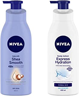 NIVEA Body Milk, Shea Smooth, 400ml and NIVEA Body Lotion, Express Hydration With Sea Minerals, 400ml