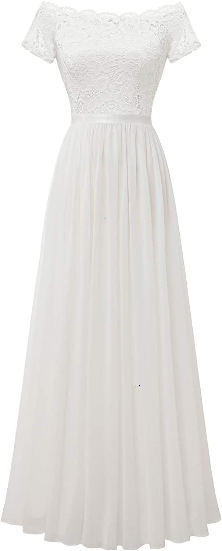 Dressystar Women's Floral Lace Formal Dress Off Shoulder Wedding Bridesmaid Party Long Maxi Dresses