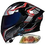 Casco Modular Bluetooth Abatible Para Motocicleta, Casco Integral De Moto Con Bluetooth Homologado ECE Para Hombres Y Mujeres, Casco De Carreras De Ciclomotor De Doble Visera Q,L (57-58 CM)