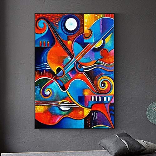 Graffiti Leinwand Malerei Poster und Druckgrafik Gitarre abstrakte Wandkunst Leinwand Malerei Bild für Wohnzimmer Wandkünstler nach Hause rahmenlose dekorative Malerei A53 30x40cm