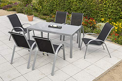Merxx 7tlg. Amalfi Set, 6 Amalfi Stapelsessel, 1 Tisch, 150 x 90 cm, schwarz