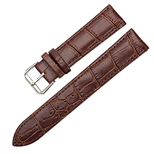 Sanwood Unisex Uhrenarmband, Kunstleder, mit Schnalle, Braun, 22mm