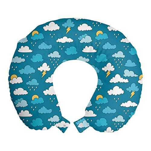 ABAKUHAUS Kindergarten Reisekissen Nackenstütze, Sky Regen-Wolken Bolts Sun, Schaumstoff Reiseartikel für Flugzeug und Auto, 30x30 cm, Sea Blue Weißer Senf