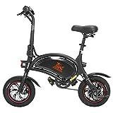 Bicicleta eléctrica Plegable, batería de 36v 250w, Velocidad de hasta 25km/h, 40±3km de Largo Alcance, 12' neumáticos, Bicicleta Urbana Unisex para Adultos - Kugoo Kirin B1 Pro