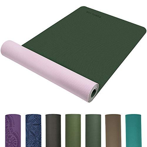 TOPLUS Preumium Yogamatte aus hochwertigen TPE, rutschfest Yogamatte Gynastikmatte Übungsmatte Sportmatte für Yoga, Pilates,Fitness usw.-Grün&Pink