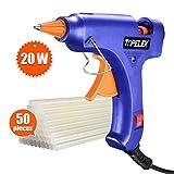 TOPELEK Mini Hot Glue Gun with Sticks(50pcs 100mm), Heat Up Quickly 20W Mini