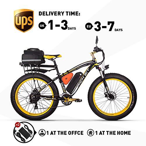 RICH BIT Elektrofahrrad 1000W RT022 E-Bike 48V * 17Ah Li-Batterie 4.0 Zoll (10cm) Fettreifen Herren Fahrrad Strand Fahrrad geeignet für 165-195cm (Yellow Plus)