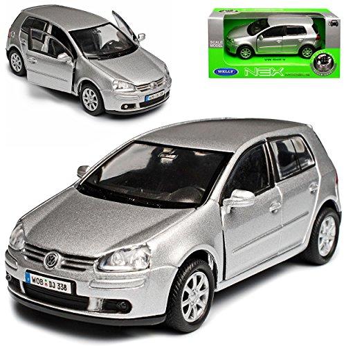 Welly Volkwagen Golf V Silber 5 Türer 2003-2008 ca 1/43 1/36-1/46 Modell Auto mit individiuellem Wunschkennzeichen