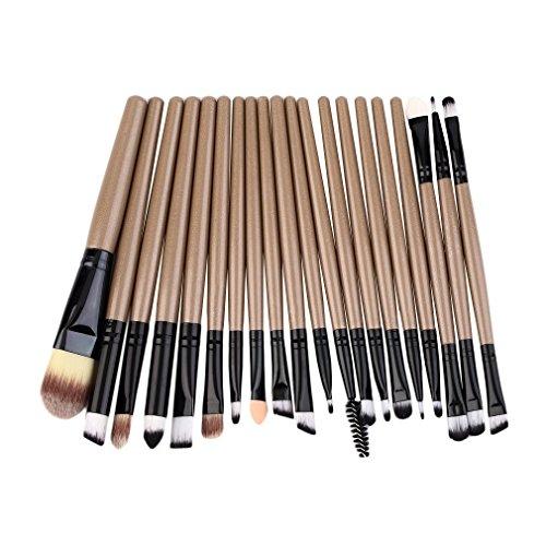 fawox 20 pcs Maquillage Professionnel Beauté Cosmétique Blush Brosses Dorées Kits Clarinette Dorée