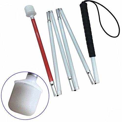 VISIONU Aluminio Baston Blanco para Ciegos y Baja Vision Plegable, 6 Secciones (125 cm (49.2 Pulgada), Mango de Negro)