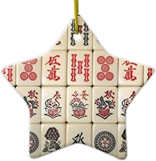 Gengalengd Mahjong Tiles DoubleSided Star Ceramic Christmas Ornament