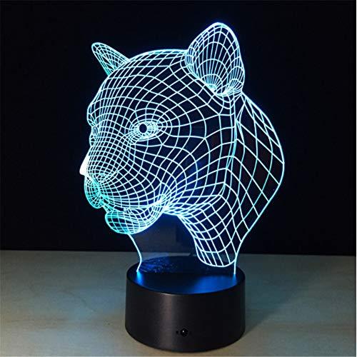 Tier Leopard Kopf 3D Visuelle Led Lampe 7 Farben Ändern Touch Sensor Usb Led Nachtlicht Kind Kinder Spielzeug Kreative Geburtstagsgeschenk