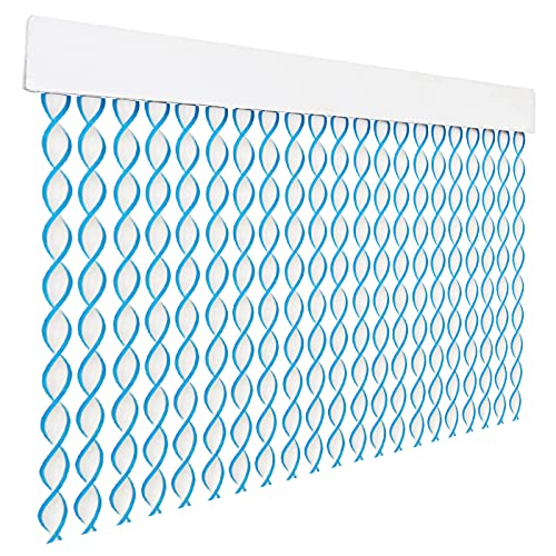 HOME MERCURY – Cortina espiral para puerta exterior o interior, material PVC – libre de insectos (200x90CM, Blanco+Filo Azul R8)