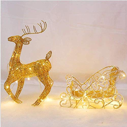 WANGIRL Lit Indoor Outdoor LED Light Up Glitter Reindeer with Sleigh Warm White Light Iron Frame Christmas Lights Decorations 28x50cm,Gold Outdoor