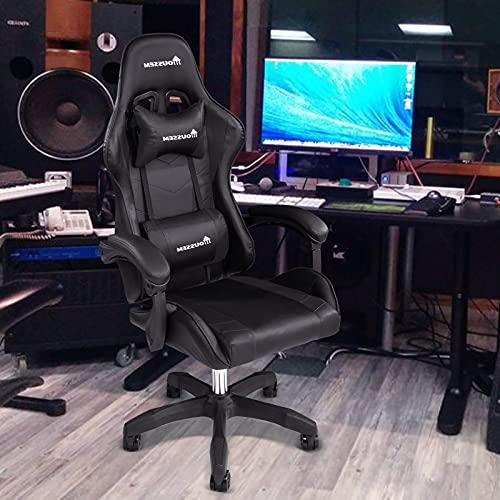 Silla de gaming, silla giratoria de piel sintética, altura ajustable, asiento deportivo con cojín para la cabeza y la zona lumbar, silla de oficina, silla de escritorio, diseño ergonómico