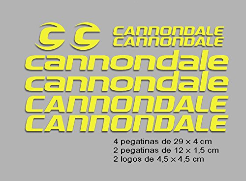 Ecoshirt F6-ZC29-E9M0 Pegatinas Cannondale F117 Vinilo Adesivi Decal Aufkleber Клей MTB Stickers Bike, Amarillo