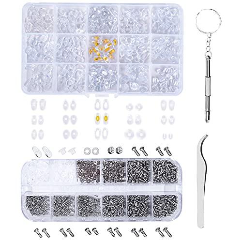 Komplettes Brillen Reparatur Set mit 1100 Stück Micro Brillenschrauben und 150 Paare Nasenpads, Optiker Werkzeug Schrauben für Brillen mit Schraubendreher Pinzette für Uhren Sonnenbrillen Reparatur