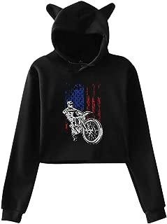 USA Extreme Flag Biker Cat Ear/Unicorn Crop Top Pullover Fleece for Women Teen Girls