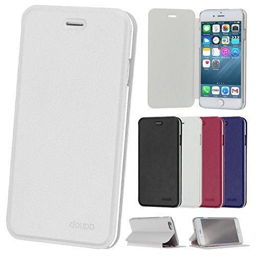 doupi Flip Case für iPhone 6 / 6S (4,7 Zoll), Deluxe Schutz Hülle mit Magnetischem Verschluss Cover Klappbar Book Style Handyhülle Aufstellbar Ständer, weiß