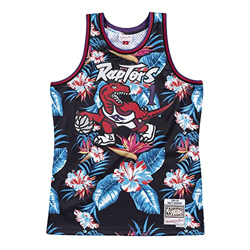 Mitchell & Ness Floral Swingman Toronto Raptors T. McGrady - Camiseta de manga corta, diseño floral multicolor L