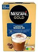 Kaffeegenuss trifft lecker-lockeren Löffelschaum: NESCAFÉ GOLD Typ Cappuccino Weniger Süß für Kaffeeliebhaber, die es weniger süß im Geschmack mögen Lieferumfang: 1x125g NESCAFÉ GOLD Typ Cappuccino Weniger Süß, Getränkepulver aus löslichem Bohnenkaff...
