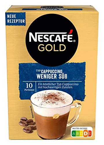NESCAFÉ Gold Typ Cappuccino Weniger Süß, Getränkepulver aus löslichem Bohnenkaffee, koffeinhaltig, 1er Pack (à 10 x 12,5g Sticks)