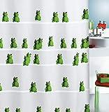 "Spirella Anti-Schimmel Duschvorhang - Anti-Bakteriell, waschbar, wasserdicht, Polyester, ""Quack Frosch"" 180x200cm Weiß Grün"