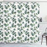 ABAKUHAUS Blatt Duschvorhang, Aquarell Eukalyptus Kunst, mit 12 Ringe Set Wasserdicht Stielvoll Modern Farbfest & Schimmel Resistent, 175x220 cm, Hellbraun Weiß Grün