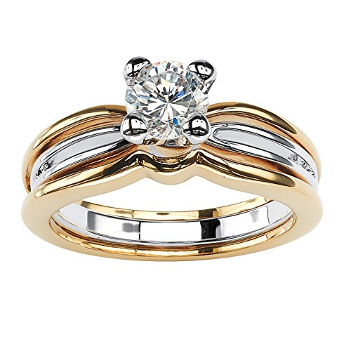 Palm Beach Jewelry 18K Yellow Gold Plated Two Tone Round Cubic Zirconia...