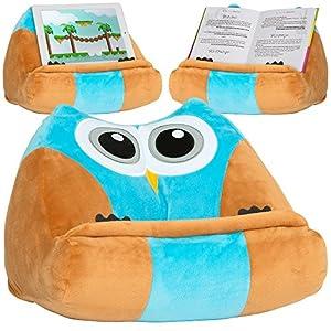 CuddlyReaders, atril, cojín de lectura para libros, iPad, tablet, eReader, soporte sofá de descanso, idea de regalo para niños - Modelo Owliver