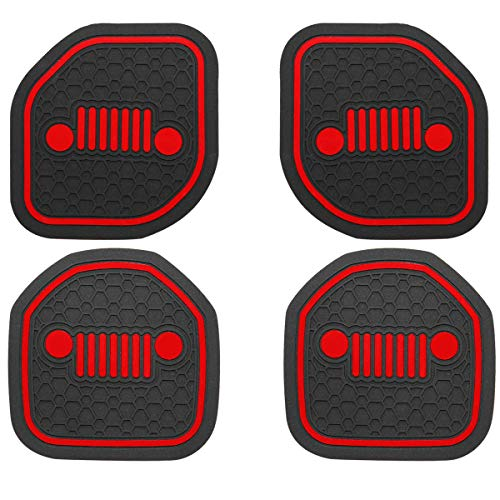 US-LXC Auto Cup Holder Coaster Insert: an Interior Accessory Compatible with Sport & Rubicon of (2018 2019 Jeep Wrangler JL JLU & 2020 Gladiator JT),or A Car Liner Mat Pad Cushion (4-PCS a kit)(Red)