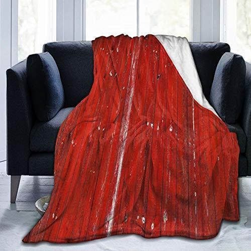 SURERUIM Manta De Tiro De Lana Suave,Puerta de Granero rústica Casa de Campo de Tablero de Madera Vieja lamentable roja,Home Hotel Sofá Cama Sofá Mantas para Parejas Niños Adultos,75x125cm