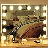 BESTOPE Vanity Mirror with Lights Hollywood Mirror Large Lighted Vanity Mirror with 3 Color Lights,USB A and USB C Outlet with Phone Holder,24x20 Inch,Touch Control,Sturdy Metal Frame Design