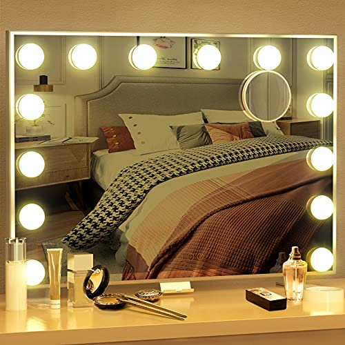 Vanity Mirror with Lights Hollywood Mirror Large Lighted Vanity Mirror with 3 Color Lights,USB A and USB C Outlet with Phone Holder,24x20 Inch,Touch Control,Sturdy Metal Frame Design