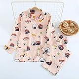 STJDM Bata de Noche,Fresh Gauze Cotton Pajamas Sets Women Spring Summer Japanese Kawaii Strawberry Homewear Casual Long-Sleeve Women Sleepwear L TZ-FT-2