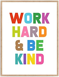 Work Hard & Be Kind Print, Motivational Words Poster, Colorful Inspirational Quote Art Office Décor 8x10 Unframed