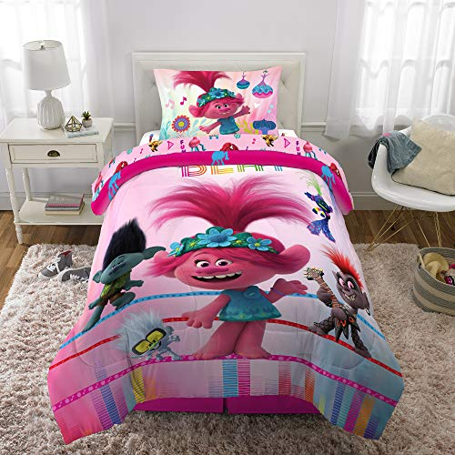 World Tour Trolls Comforter with Sheets 4 Piece Twin Size Bed in a Bag Bundle Set Kids Bedding