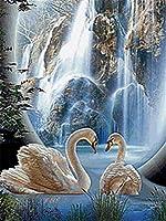 ダイヤモンドの絵画 ダイヤモンド絵画フルスクエア/ラウンドスワンダイヤモンド刺繡モザイク販売動物の家の装飾