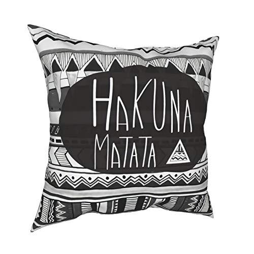 Hakuna Matata - Funda de cojín para decoración diaria con cremallera, funda de almohada lumbar para regalo de casa, sofá, cama, coche, 45,7 x 45,7 cm