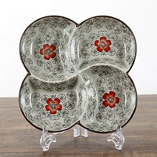 XUSHEN-HU Cerámica de estilo japonés antiguo cerámica vajilla cerámica rejilla placa pintado a mano bajo color cuatro rejilla rojo rico 24x3cm vintage