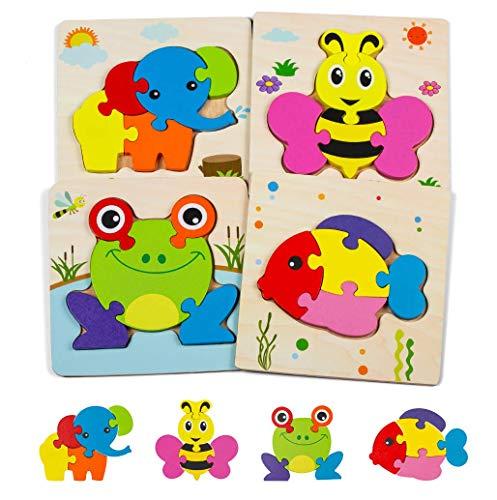 ZWOOS Puzzles de Madera Juguetes Bebes 4 Piezas De Madera Rompecabezas Set Colorido Rompecabezas de Animales Juguetes niños 1 2 3 4 años,Regalo Educativo Preescolar de Aprendizaje temprano para niños