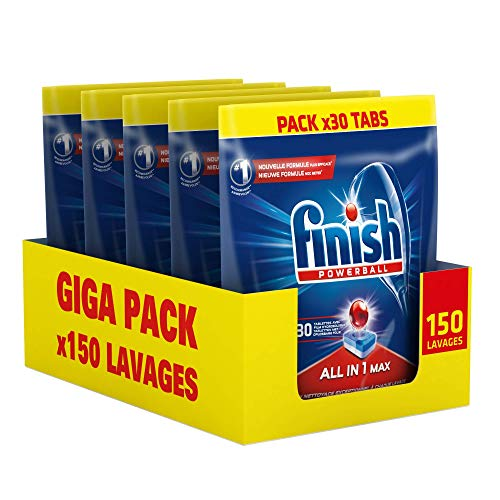 Finish Pastilles Lave-Vaisselle Powerball All in One Max - 150 Tablettes (Pack de 5x30)