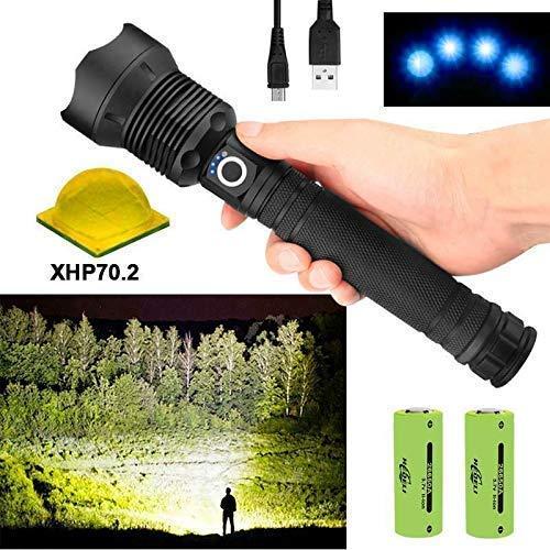 XHP70 Teleskop-Taschenlampe, 90000 Lumen, USB-Zoom, wasserdicht, für Wandern, Jagd, Camping, Outdoor, Sport, Best Camping (XHP70), mit 2 x 26650 wiederaufladbaren Batterien