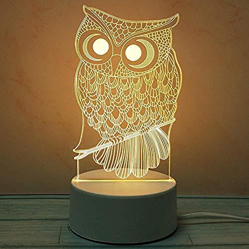 wangzj Mini-búho Luces de noche Lámpara pequeña Luces de interior Lámpara de noche Enchufe Lámpara de mesilla Lámpara de mesa 3D Regalo de Navidad Luz de noche